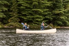 Canada Ontario Lake of two rivers Couple on a Canoe Canoes on the water Algonquin National Park Royalty Free Stock Photo