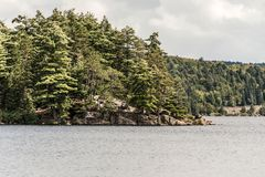 Canada Ontario Lake of two rivers natural wild landscape near the water in Algonquin National Park Stock Image