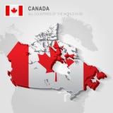 Canada op grijze kaart wordt getrokken die Royalty-vrije Stock Foto's