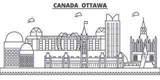 Canada, Ottawa architecture line skyline illustration. Linear vector cityscape with famous landmarks, city sights Stock Photos
