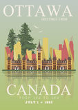 Canada. Ottawa. Canadian vector illustration. Vintage style. Travel postcard. Royalty Free Stock Images