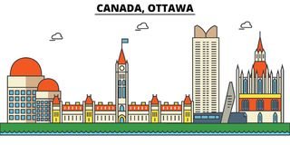 Canada, Ottawa. City skyline architecture . Editable. Canada, Ottawa. City skyline architecture, buildings, streets, silhouette, landscape, panorama landmarks Stock Photos