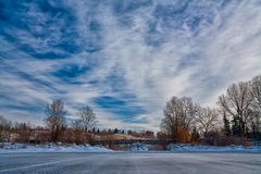 Canada Outdoor Skating Rink. Winter landscape of an outdoor skating rink Stock Photos