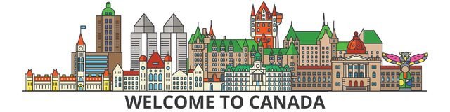 Canada outline skyline, canadian flat thin line icons, landmarks, illustrations. Canada cityscape, canadian travel city Royalty Free Stock Images