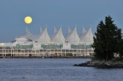 Canada Palce and full moon Stock Photos