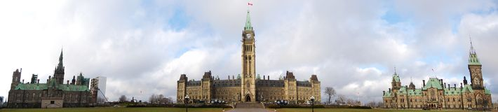 Canada Parliament Buildings panorama. Including the main building, east wing and west wing, Ottawa, Ontario, Canada Royalty Free Stock Photo