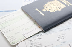 Canada passport with boarding pass Royalty Free Stock Photography