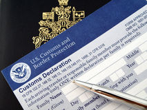 Canada passport on U.S.declaration card Stock Image