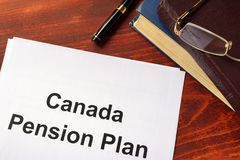 Canada Pension Plan CPP written on a sheetof paper. Stock Photo
