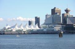 Canada Place & de horizon van Vancouver BC, Canada. Stock Afbeeldingen
