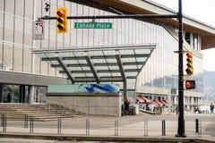 Canada Place Eindelicht binnen de stad in royalty-vrije stock foto