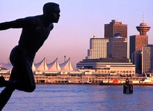 Canada Place and statue, Vancouver. Royalty Free Stock Image