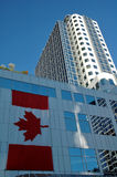 Canada Place in Vancouver. Canadian flag on the side of Canada Place in downtown Vancouver Canada royalty free stock images