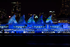 Canada Place, Vancouver at night with light show Royalty Free Stock Image