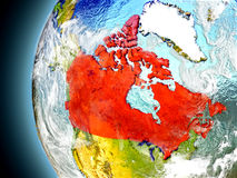 Canada on planet Earth from space Royalty Free Stock Photography