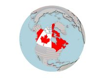 Canada with flag on globe. Canada on political globe with embedded flags. 3D illustration isolated on white background Royalty Free Stock Image