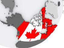Flag of Canada on map. Canada on political globe with flag. 3D illustration Stock Photos