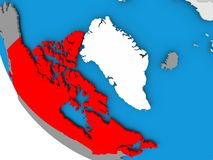 Canada on political globe. Map of Canada in red on political globe. 3D illustration Royalty Free Stock Photography