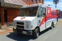 Canada post vehicle in Saint John, NB, Canada. Canada post van in downtown Saint John, New Brunswick, Canada Stock Photography