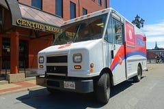 Canada post vehicle in Saint John, NB, Canada. Canada post van in downtown Saint John, New Brunswick, Canada Stock Image