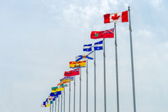 Canada and Province flags Royalty Free Stock Photography