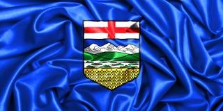 3d waving flag of Alberta. Canada provinces set-3d waving flag of Alberta, silk fabric texture background Royalty Free Stock Photos