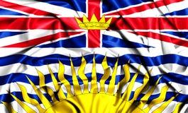 3d waving flag of British Columbia. Canada provinces set- 3d waving flag of British Columbia, silk fabric texture Stock Image