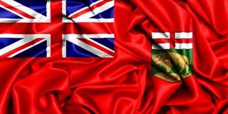 3d waving flag of Manitoba. Canada provinces set-3d waving flag of Manitoba on a windy day, silk fabric texture Royalty Free Stock Photo