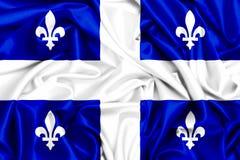 3d waving flag of Quebec. Canada provinces set-3d waving flag of Quebec, silk fabric texture Stock Image