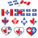 Canada and Quebec. Set showing different illustrations portraying combinations between the flags of Canada and Quebec, to symbolize French Canadians Royalty Free Stock Photography