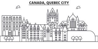 Canada, Quebec City architecture line skyline illustration. Linear vector cityscape with famous landmarks, city sights. Design icons. Editable strokes Stock Photo