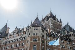 Canada Quebec City Chateau Frontenac most famous tourist attraction UNESCO World Heritage Site Royalty Free Stock Photography