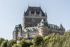 Canada Quebec City Chateau Frontenac most famous tourist attraction UNESCO World Heritage Site Royalty Free Stock Images