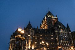 Canada Quebec City Chateau Frontenac at night most famous tourist attraction UNESCO World Heritage Site Stock Photos