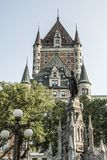 Canada Quebec City Fountain Monument of Faith woman in front of Chateau Frontenac tourist attraction UNESCO Heritage Stock Image