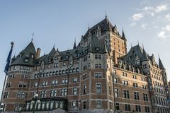 Canada Quebec City Sunset Chateau Frontenac most famous tourist attraction UNESCO World Heritage Site. Canada Quebec City - Sunset at the Chateau Frontenac most Stock Photo