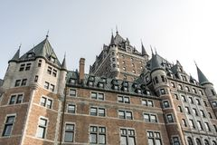 Canada Quebec City Sunset Chateau Frontenac most famous tourist attraction UNESCO World Heritage Site Royalty Free Stock Photography