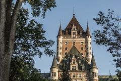 Canada Quebec City Sunset Tower of Chateau Frontenac most famous tourist attraction UNESCO World Heritage Site Stock Photography