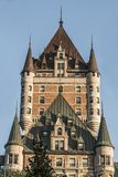 Canada Quebec City Sunset Tower of Chateau Frontenac most famous tourist attraction UNESCO World Heritage Site Stock Photo