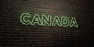 CANADA -Realistic Neon Sign on Brick Wall background - 3D rendered royalty free stock image Royalty Free Stock Photo