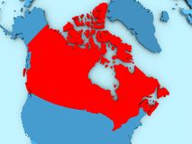 Map of Canada. Canada in red on blue political map. 3D illustration Stock Images