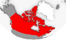 Map of Canada on grey political globe. Canada in red on grey political globe. 3D illustration Royalty Free Stock Photography
