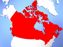 Canada in red on map. Map of Canada highlighted in red on simple shiny metallic map with clear country borders. 3D illustration Royalty Free Stock Photos