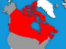 Map of Canada. Canada in red on political map. 3D illustration Royalty Free Stock Photo