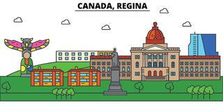 Canada, Regina Architecture d'horizon de ville Editable Photos libres de droits