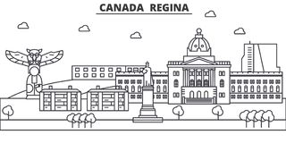 Canada, Regina architecture line skyline illustration. Linear vector cityscape with famous landmarks, city sights Royalty Free Stock Photos