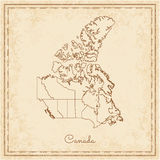Canada region map: stilyzed old pirate parchment. Royalty Free Stock Images