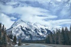 Canada Rocky Mountains in winter. Canada Rocky Mountains on the Trans-Canada Highway in winter royalty free stock photos