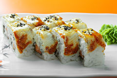Canada roll with salmon and eel closeup Stock Images