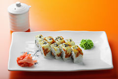 Canada roll with salmon and eel Royalty Free Stock Photography